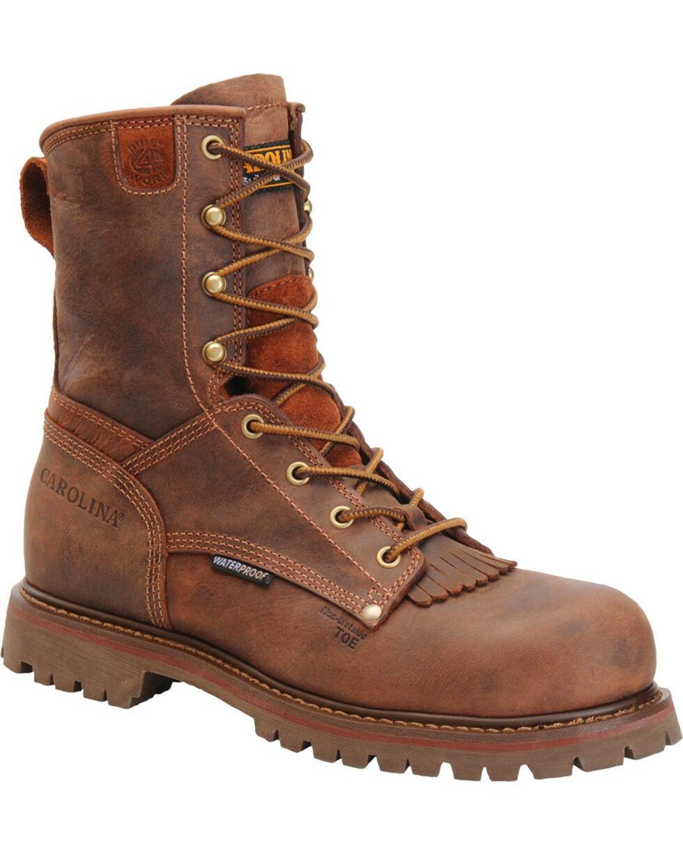 Carolina Men's Brown Waterproof Workboots - Composite Toe, Brown, hi-res