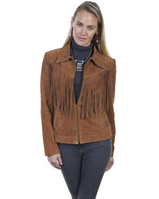 Scully Women's Cinnamon Boar Suede Studded Fringe Jacket , Brown, hi-res