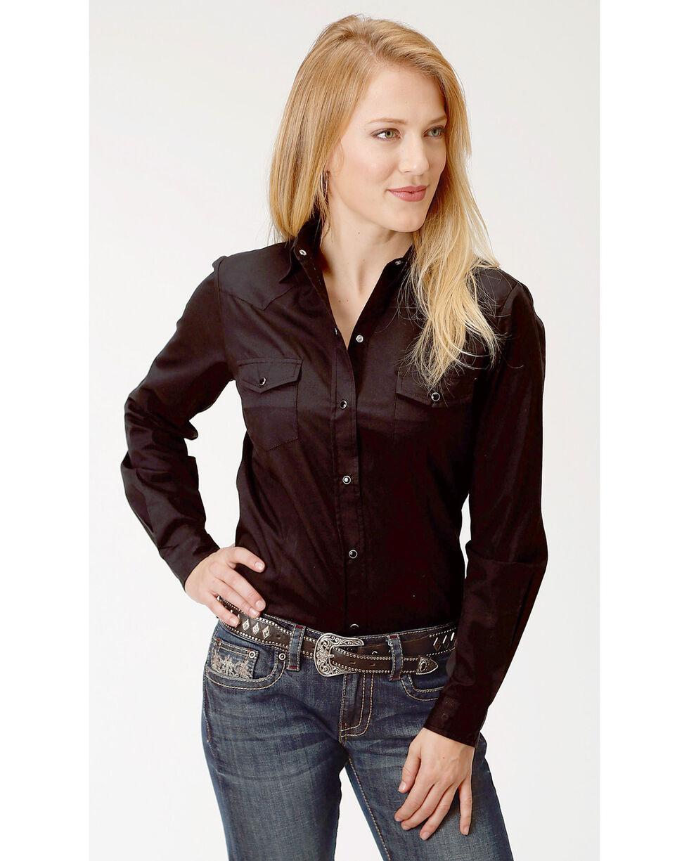 Roper Women's Black Solid Long Sleeve Western Shirt, , hi-res