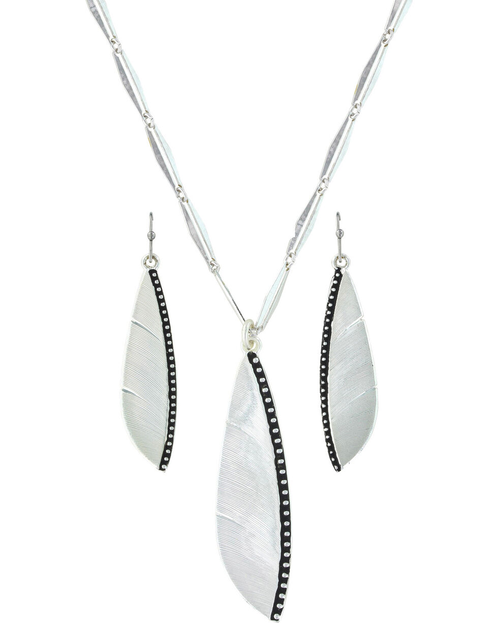 Montana Silversmiths Women's Beaded Plume Feather Jewelry Set , Silver, hi-res