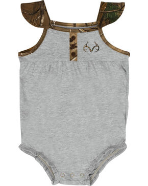 Realtree Infant Girls' Camo Short Sleeve Onesie, Grey, hi-res