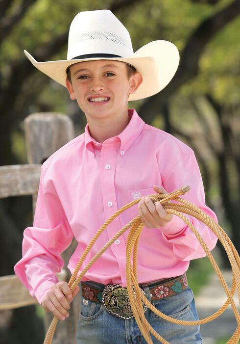 Cinch ® Boys' Light Pink Long Sleeve Shirt, Pink, hi-res