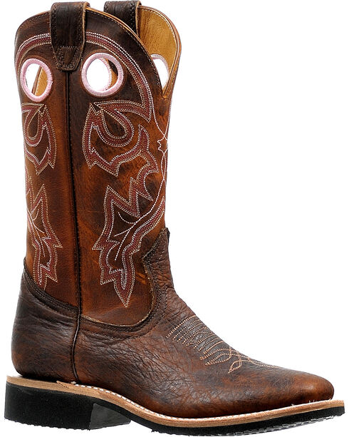 Boulet Women's Rough Rider Amber Gold Cowgirl Boots - Square Toe, Brown, hi-res