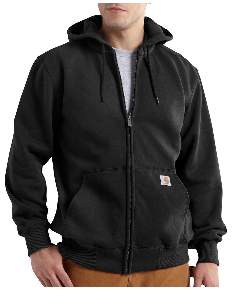 Carhartt Men's Rain Defender Paxton Heavyweight Zip Front Hooded Work Sweatshirt , Black, hi-res