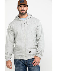 Berne Men's Original Fleece Hooded Zip Front Work Sweatshirt - Big , Grey, hi-res