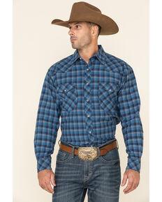 Resistol Men's Blue Alymer Check Plaid Long Sleeve Western Shirt , Blue, hi-res