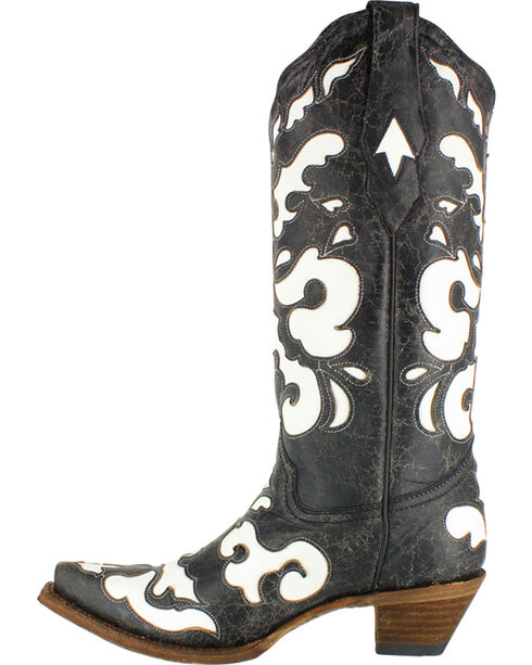 Corral Women's White Laser Inlay Cowgirl Boots - Snip Toe, Black, hi-res