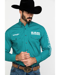 Wrangler Men's Solid Ram Logo Long Sleeve Western Shirt , Teal, hi-res