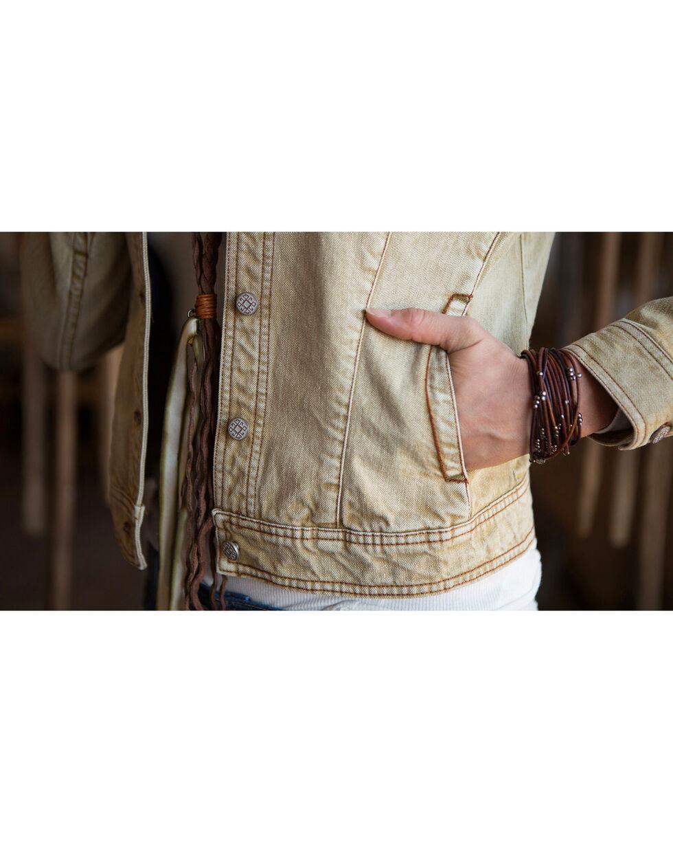 Ryan Michael Women's Tan Distressed Denim Jacket , Tan, hi-res