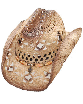 Western Express Unisex Brazos River Raffia Straw Arrowhead Hat, Tan, hi-res