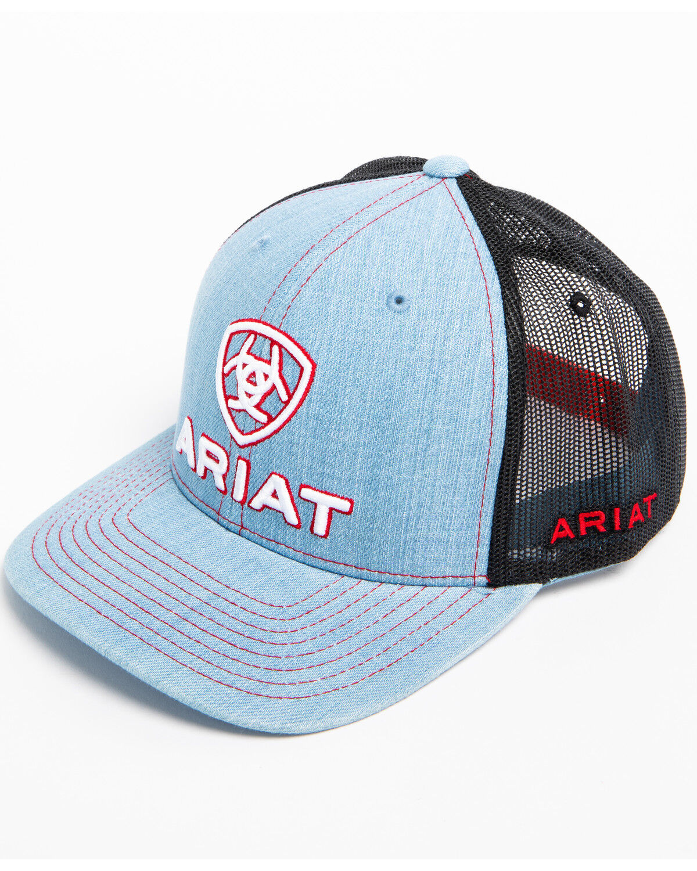 610c85f83e435 ... ireland ariat mens embroidered logo denim trucker cap light blue hi res  6df2f 218ef