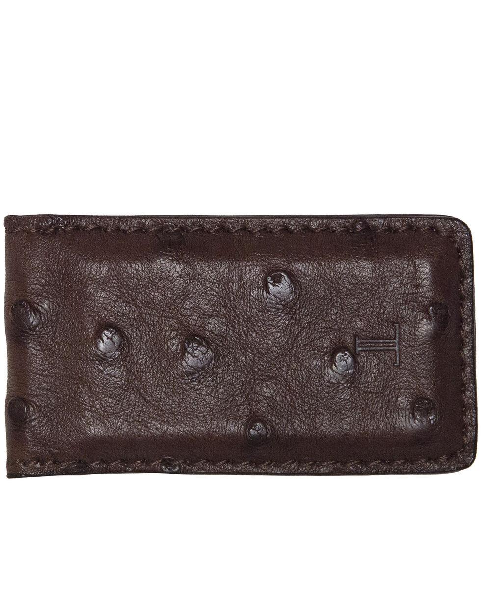 Lucchese Men's Sienna Ostrich Magnetic Money Clip , Brown, hi-res