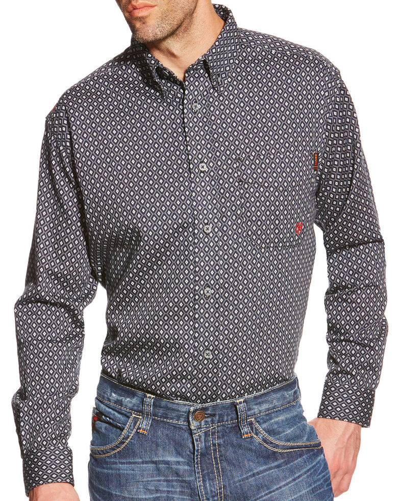 Ariat Men's Tyler Floulard FR Print Long Sleeve Work Shirt, Black, hi-res