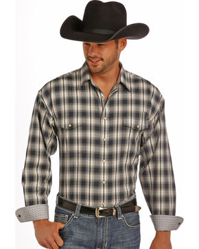 Panhandle Slim Men's Grey Plaid Dobby Western Shirt , Grey, hi-res