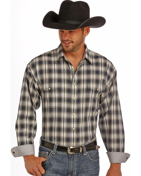 Panhandle Slim Men's Grey Plaid Dobby Western Shirt , Grey, hi-res