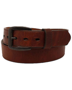 3D Men's Brown Leather Belt, Dark Brown, hi-res