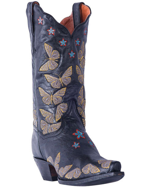 Dan Post Women's Rustic Tan Embroidered Butterfly Cowgirl Boots - Snip Toe, Black, hi-res