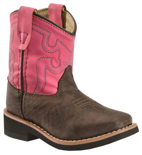 Swift Creek Toddler Girls' Chocolate and Raspberry Cowgirl Boots - Round Toe, Chocolate, hi-res