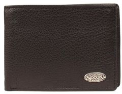 Nocona Logo Concho Leather Wallet, Black, hi-res
