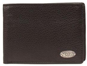 Nocona Logo Concho Leather Wallet, Black, hi-res