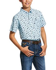 Ariat Boys' Norristown Cactus Geo Print Short Sleeve Western Shirt , Light Blue, hi-res