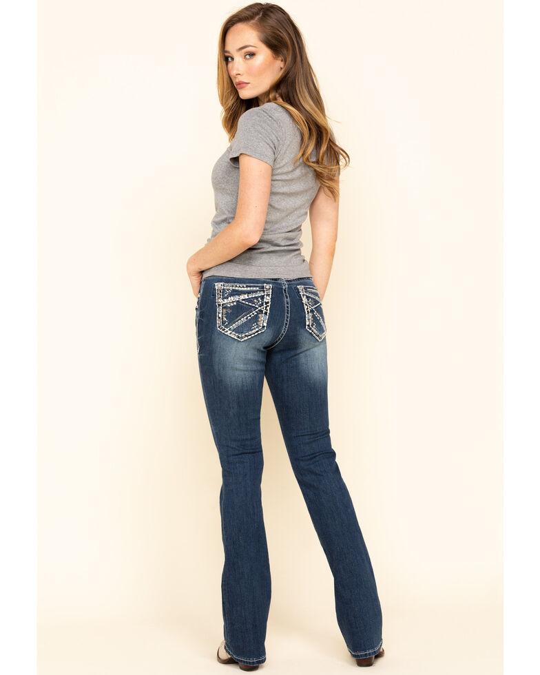 """Grace in LA Women's Inverted Design 34"""" Bootcut Jeans, Blue, hi-res"""
