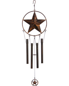 Evergreen Distressed Copper Metal Star Windchime , Brown, hi-res