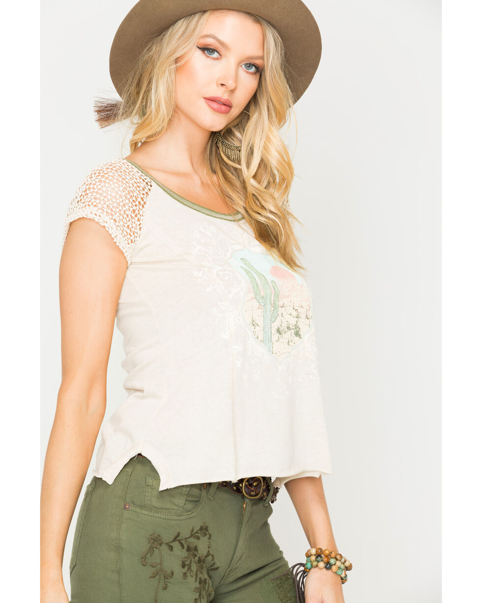 White Crow Women's Oatmeal Cactus Vista Top , Oatmeal, hi-res
