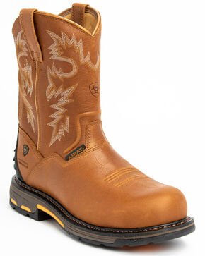 Ariat H20 Workhog Western Work Boots - Composite Toe, Bark, hi-res