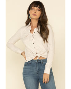Shyanne Women's Solid Knit Button Front Long Sleeve Western Shirt , White, hi-res