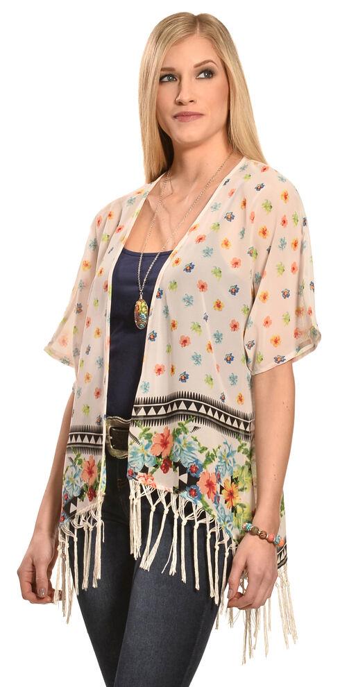 Truly 4 You Ivory Floral Macrame Fringe Kimono, Ivory, hi-res