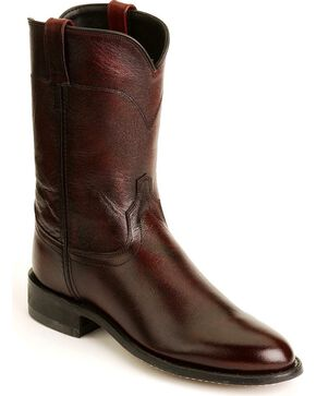 Old West Leather Roper Cowboy Boots, Black Cherry, hi-res