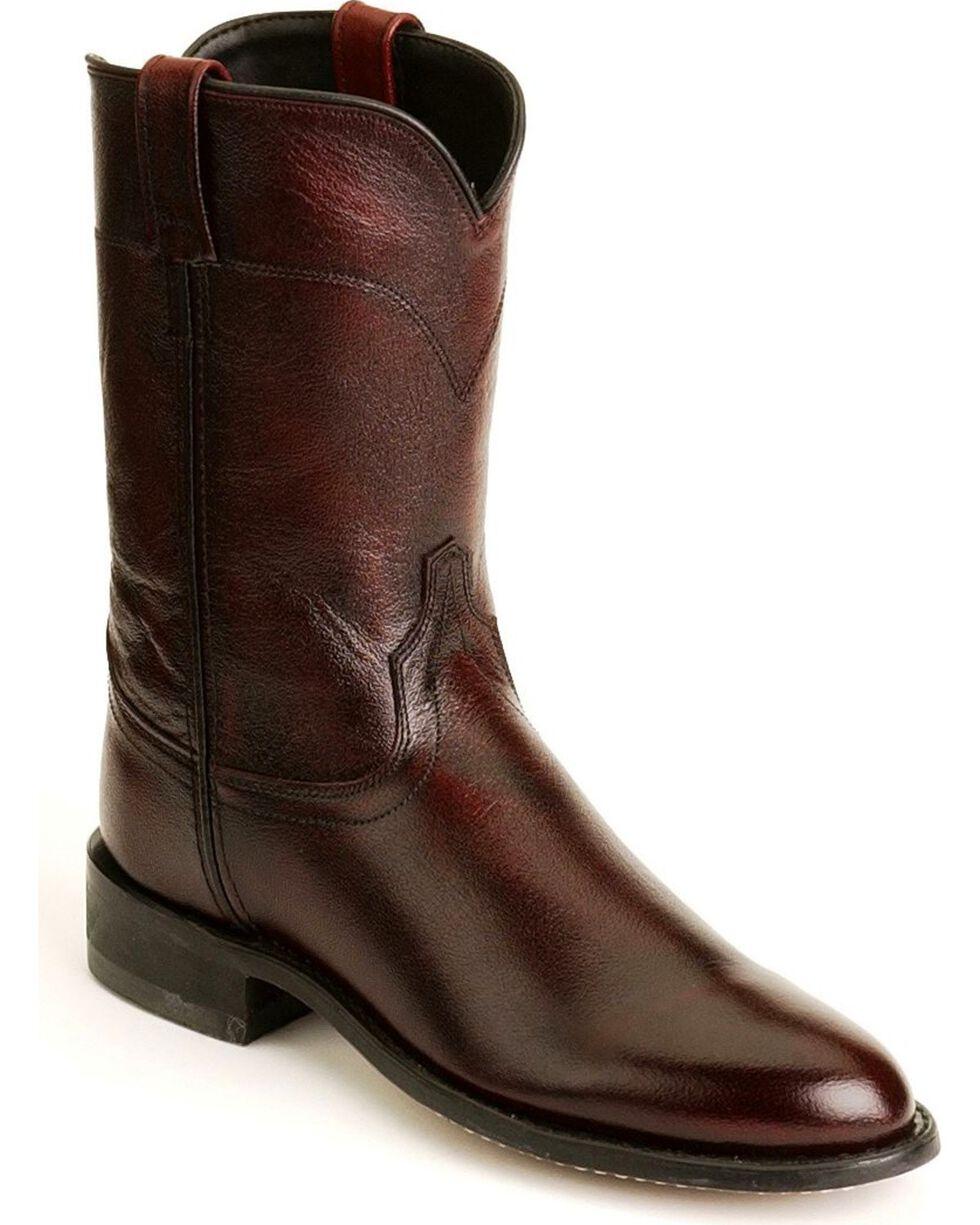 Old West Leather Roper Cowboy Boots, Black Cherry, hi-res