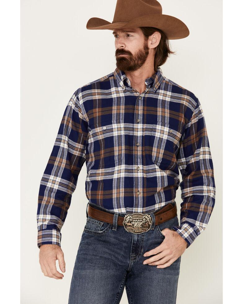 Wrangler Rugged Wear Men's Blue Ridge Long Sleeve Western Flannel Shirt - Big & Tall, Blue, hi-res