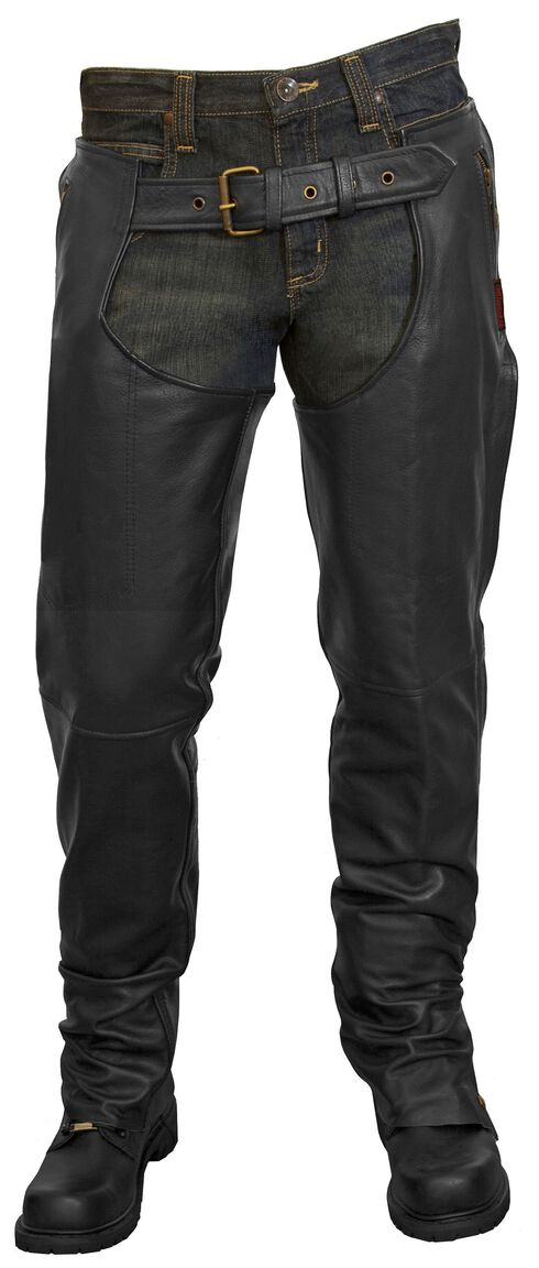 Milwaukee Motorcycle Leather Unisex Chaps, Black, hi-res
