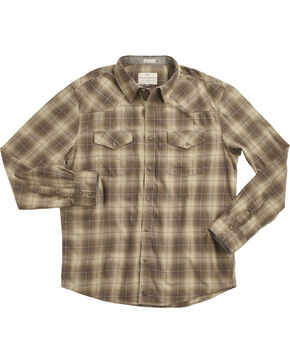 Cody James Men's Plaid Printed Long Sleeve Shirt, Tan, hi-res