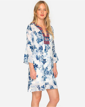 Johnny Was Women's Blue Flare Sleeve Tunic Dress - Plus Size , Blue, hi-res
