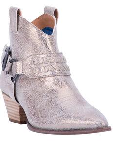 Dingo Women's Gold Keepsake Braided Harness Fashion Booties - Round Toe, Gold, hi-res