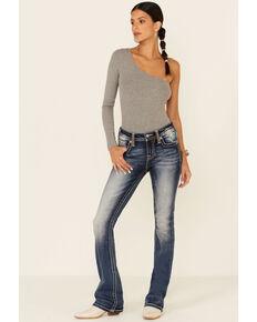 Miss Me Women's Neutral Leather Wings Medium Wash Bootcut Jeans, Dark Blue, hi-res