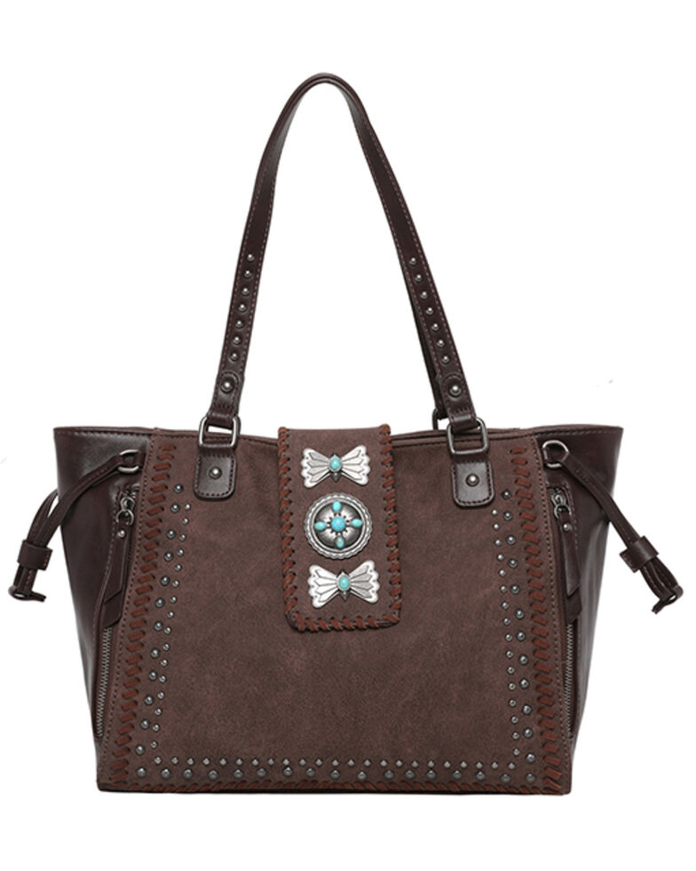 Montana West Women's Wrangler Butterfly Concho Wide Tote Bag, Coffee, hi-res