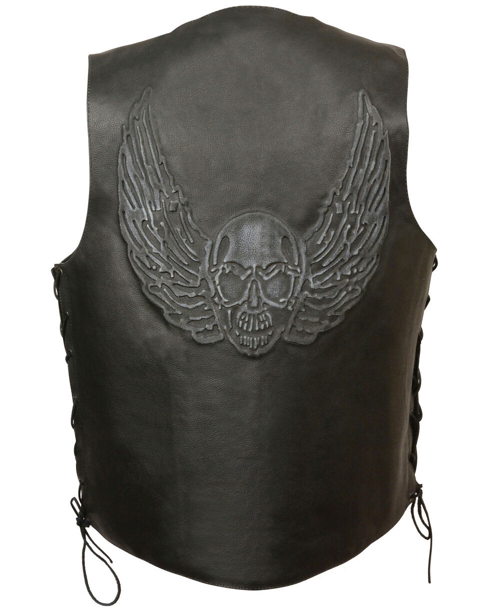 Milwaukee Leather Men's Side Lace Skull & Wings Vest, Black, hi-res