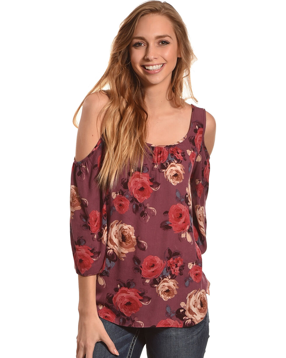 Ivory Love Women's Rose Printed Cold Shoulder Top, Mauve, hi-res