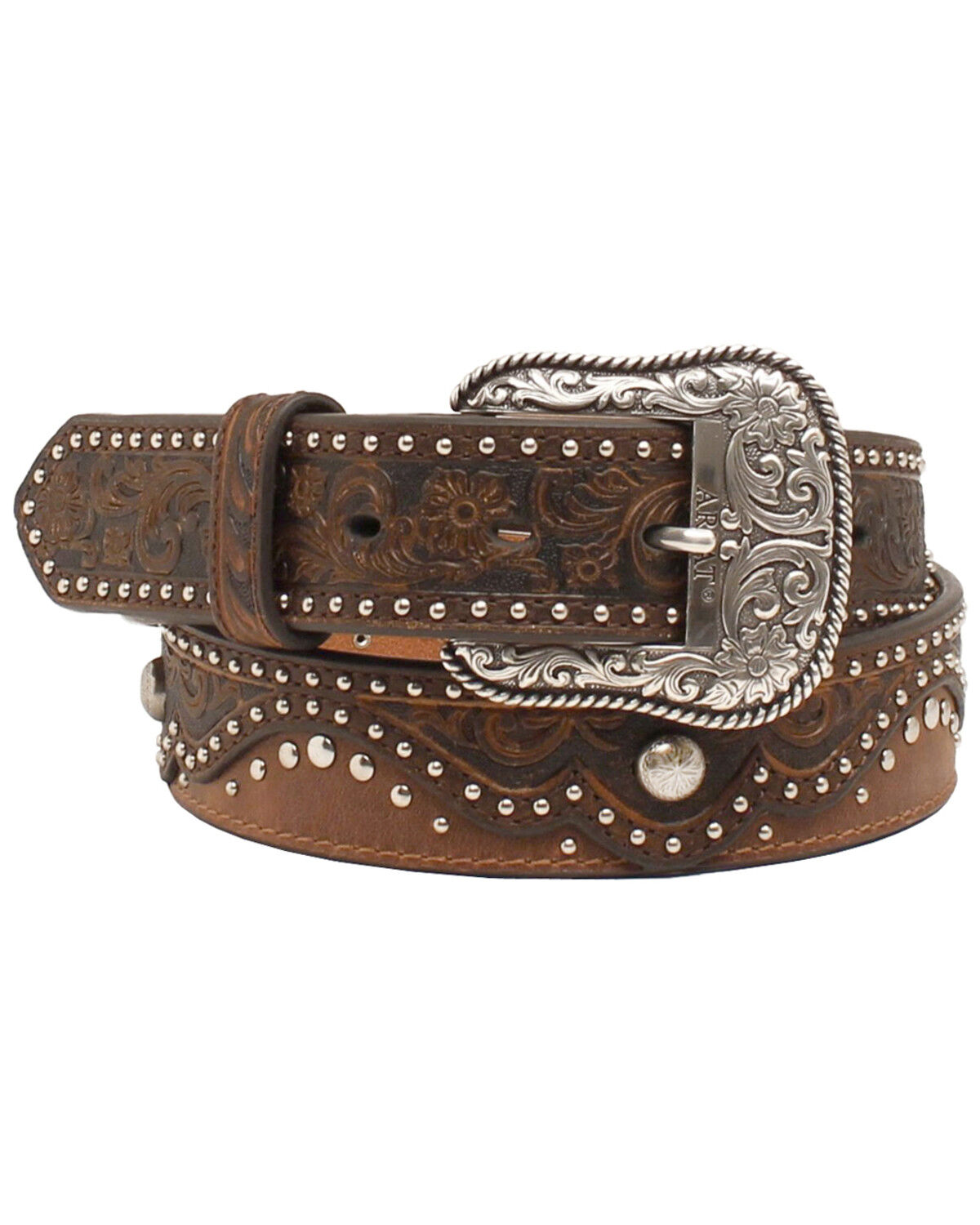 Brown Embroidery ~Nocona LEATHER Western BELT~ SILVER Crystal Cross COWGIRL 14