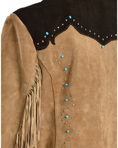 Liberty Wear Women's Suede Fringe Studded Jacket, Brown, hi-res