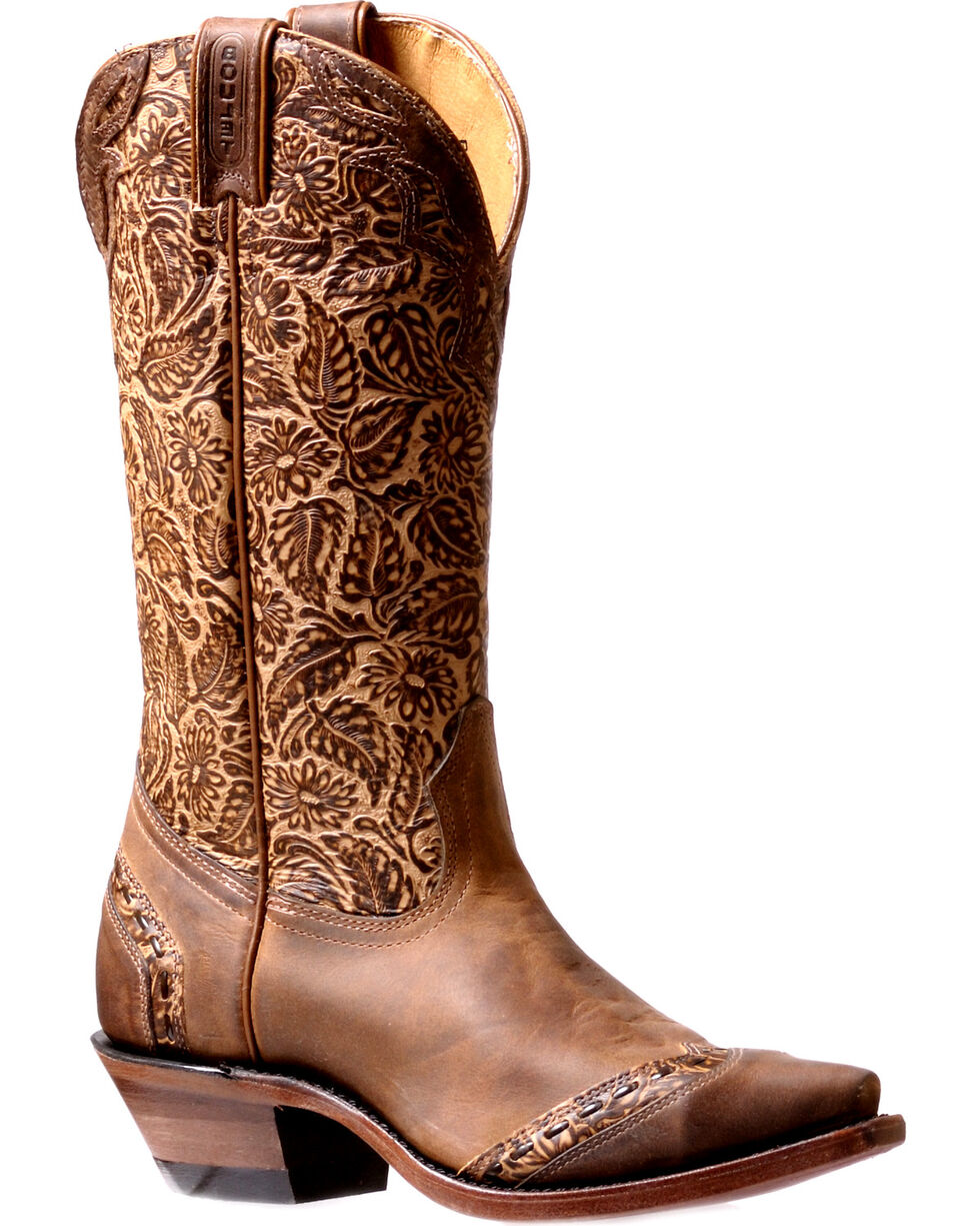Boulet Women's Floral Tooled Cowgirl Boots - Snip Toe, , hi-res
