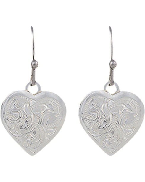 Montana Silversmiths Classic Montana Heart Swinging Earrings, Silver, hi-res