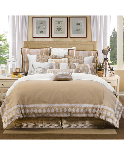 HiEnd Accents Cream Newport Duvet Cover Set - Queen , Cream, hi-res