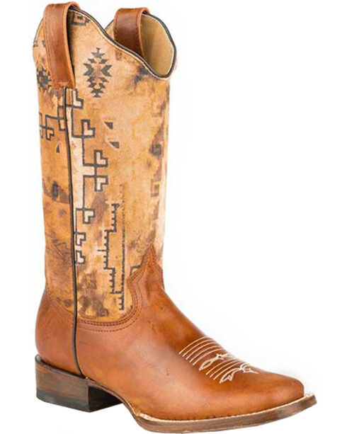 Roper Tan Goat Southwestern Print Cowgirl Boots - Square Toe , Brown, hi-res
