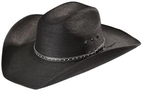 Bullhide Country Strong Palm Leaf Straw Cowboy Hat, Black, hi-res