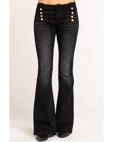 Driftwood Women's Black Tess Button Bell Bottom Jeans , Black, hi-res